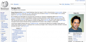 Sergey Brin article on Wikipedia